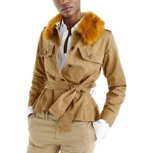 J. Crew Peplum Chino Jacket with Faux Fur Collar